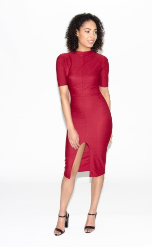 Stylish Midi Bodycon Dress With Slit Front