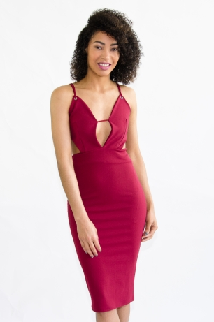Stylish Cut Out Midi Bodycon Dress