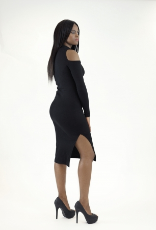 Stylish Cut Out Sleeve Bodycon Dress