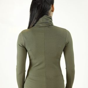Stylish Turtle Neck Long Sleeve Ribbed Top