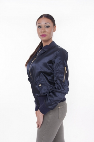 Stylish Satin Bomber Jacket