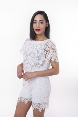 Stylish Two Piece Lace Short and Top Set