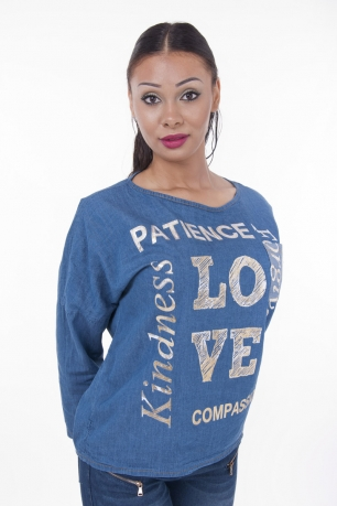 Stylish Denim Top With Metallic Writing