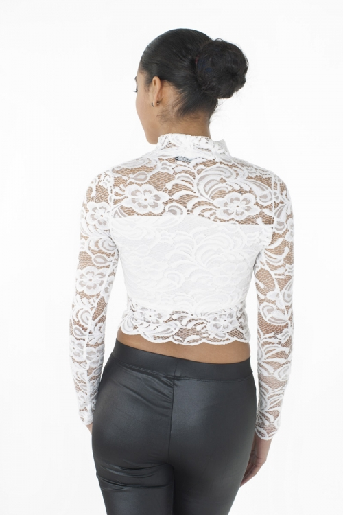 Stylish High Neck Lace Crop Top