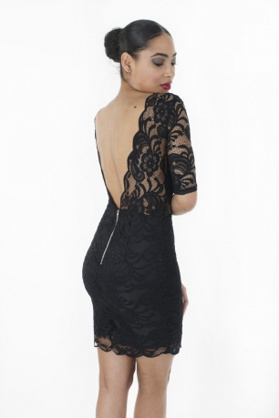Stylish Open Back Lace Bodycon Dress