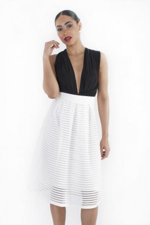 Stylish Textured Stripe Midi Skirt