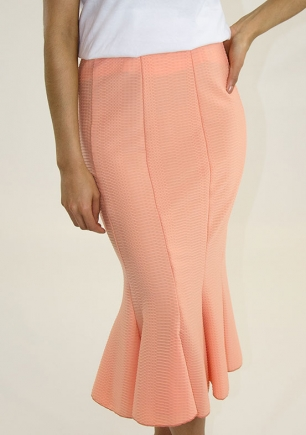 Stylish Ruffled Hem Midi Skirt - Peach