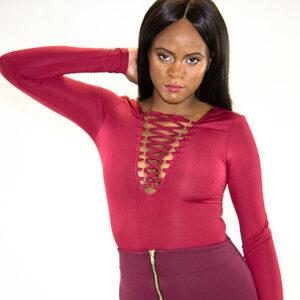 Stylish Lace Up Long Sleeve Bodysuit