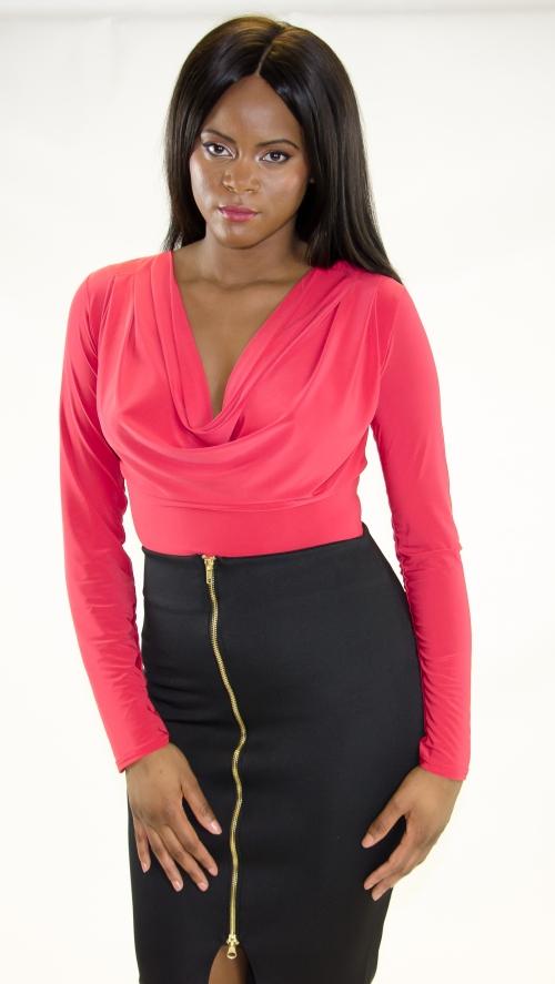 Stylish Cowl Front Long Sleeve Bodysuit