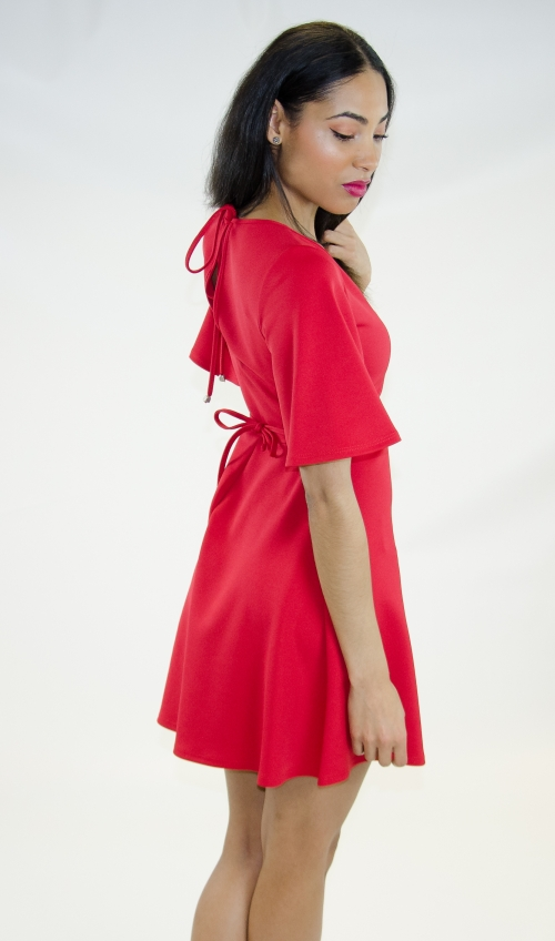 Stylish Skater Dress with Kimono Sleeves