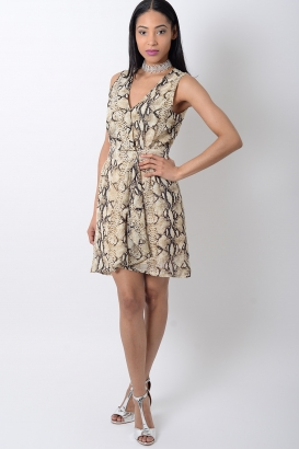 Stylish Animal Print Wrap Dress