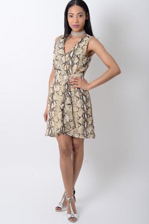 Stylish Animal Print Wrap Dress