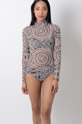 Stylish Aztec Print Long Sleeve Mesh Bodysuit