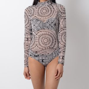 Stylish Aztec Print Long Sleeve Mesh Bodysuit