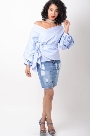 Stylish Baby Blue Ruffle Sleeve Wrap Top