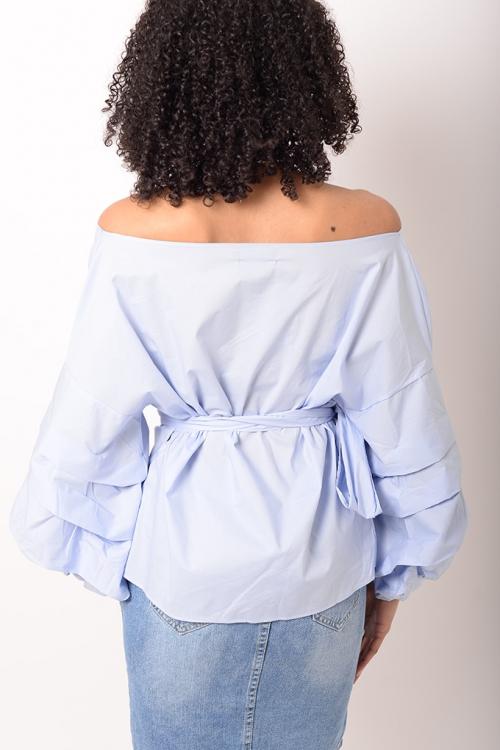 Stylish Baby Blue Ruffle Sleeve Wrap Top