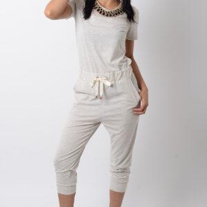 Stylish Beige Jersey Jumpsuit