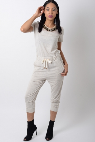 Stylish Beige Jersey Jumpsuit