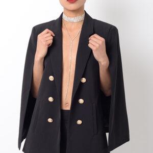Stylish Black Cape Blazer