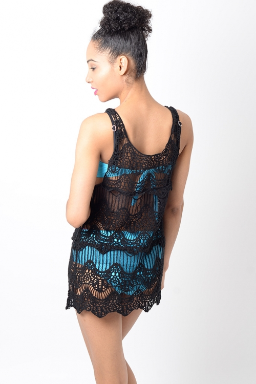 Stylish Black Crochet Beach Cover Up