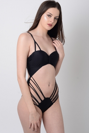 Stylish Black Cut Out Swimsuit