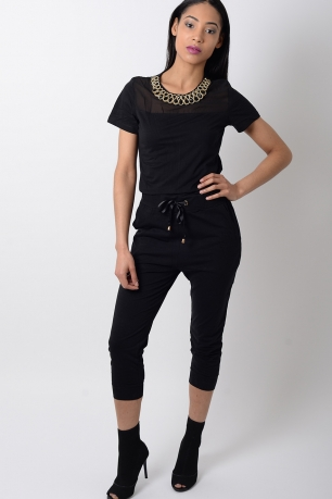 Stylish Black Jersey Jumpsuit