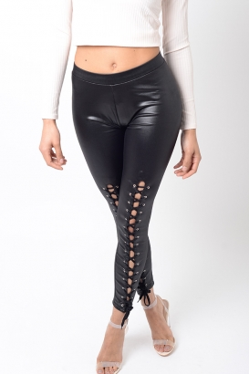 Stylish Black Lace Up Leggings