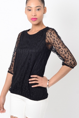 Black Leopard Print Mesh Top