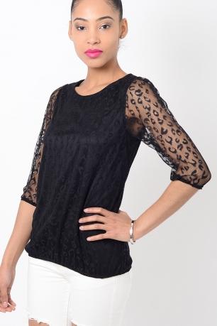 Black Leopard Print Mesh Top