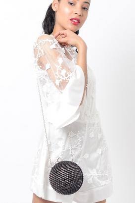 Stylish Black Pearl Clutch Bag