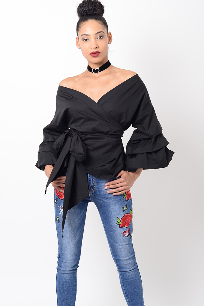 374ad334ab2394 Stylish Black Ruffle Sleeve Wrap Top - Shop H S Womens Ruffle Tops