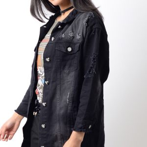 Stylish Black Distressed Oversized Denim Jacket