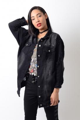 Stylish Black Distressed Oversized Denim Jacket
