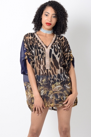 Stylish Blue Animal Print Kaftan