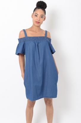 Stylish Blue Bardot Shift Dress