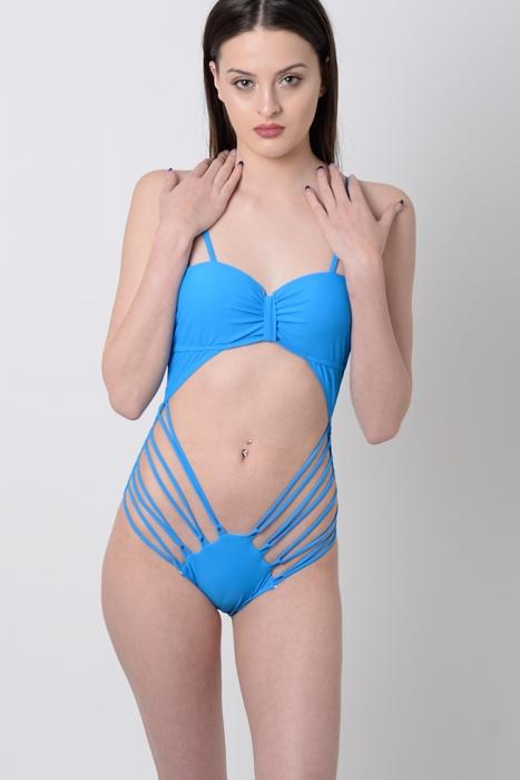 Stylish Blue Cut Out Swimsuit