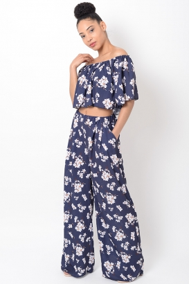 Stylish Blue Floral Co Ord Set