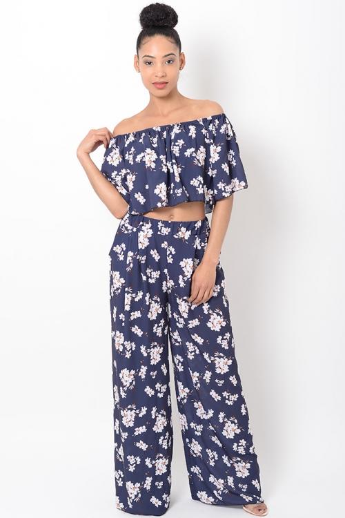 Stylish Blue Floral Co Ord Set