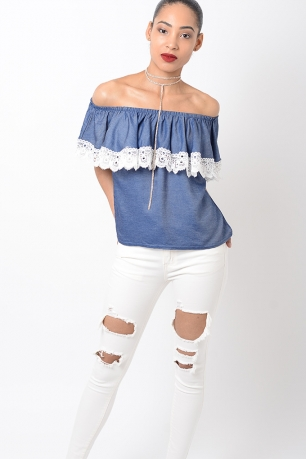 Stylish Blue Lace Detail Bardot Top
