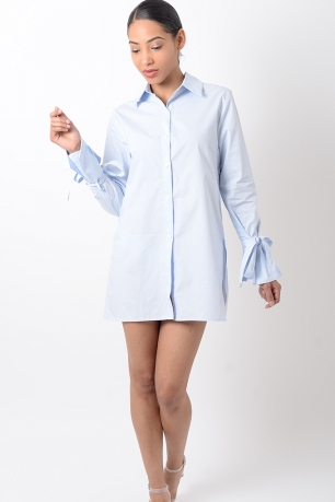 Stylish Blue Long Sleeve Shirt Dress