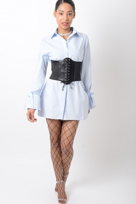 Stylish Blue Long Sleeve Shirt Dress