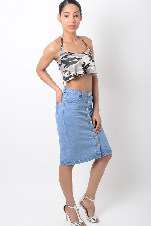 Stylish Blue Midi Denim Skirt
