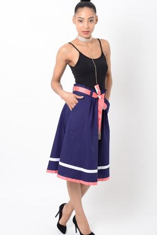 Stylish Blue Midi Skirt