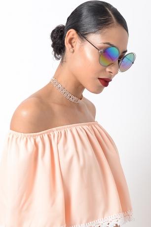 Stylish Blue Mirrored Sunglasses