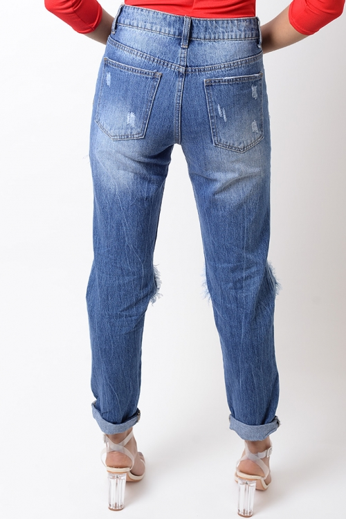 Stylish Blue Ripped Jeans
