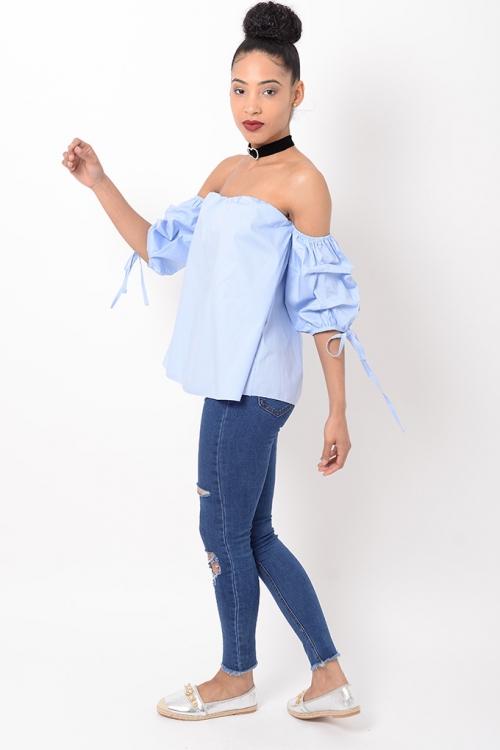 Stylish Blue Ruffle Sleeve Bardot Top
