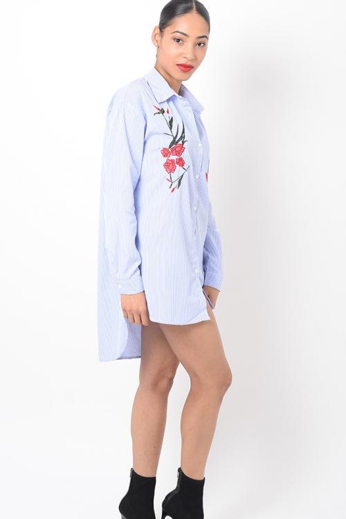 Stylish Blue Striped Shirt Dress