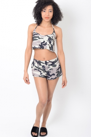 Stylish Camo Two Piece Beach Set