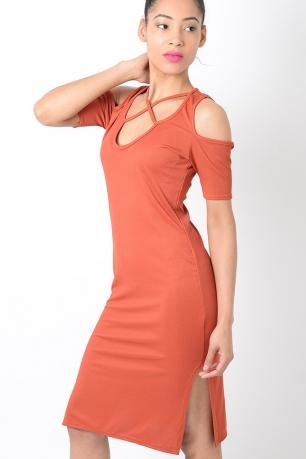 Stylish Cold Shoulder Ribbed Dress