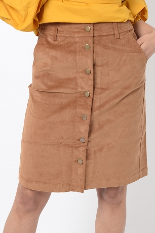 Stylish Cord Front Button Midi Skirt